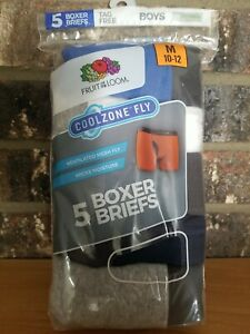 Fruit Of The Loom CoolZone Fly 5 Boys Boxer Briefs Gray/White Size M 10-12 NEW
