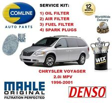 FOR CHRYSLER VOYAGER 2.0 1996-2001 OIL AIR FUEL FILTER + SPARK PLUGS SERVICE KIT