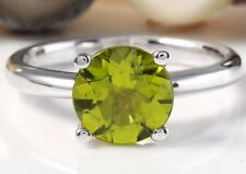 2.20 Carat Natural Green Peridot 14K Solid White Gold Women Solitaire Ring
