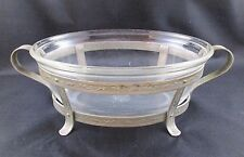 Pre 1919 Backstamp Pyrex 193 Glass Oval Dish w/Silver Tone Metal Holder NO LID