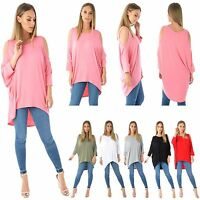 WOMENS LADIES LONG BATWING TOP CUT OUT COLD SHOULDER DIP HEM LOOSE FIT TUNIC