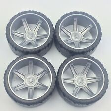 """Knex Racing Wheels Lot 4 Large Tires 2.25"""" with Gray Hubs K'nex Parts 2 1/4"""""""