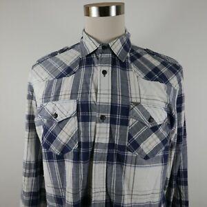 Buffalo David Bitton Mens LS Button Up Navy White Plaid Pocket Dress Shirt Large