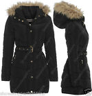 NEW PADDED Womens Hood Fur WINTER COAT Ladies Jacket Size 8 10 12 14 16 Quilted