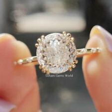 Women's Ring Wedding Engagement Antique Solitaire Moissanite 14K Yellow Gold