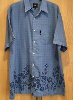 POD Size XL Mens Shirt Short Sleeve Blue Checked Floral Hawaiian Summer Casual