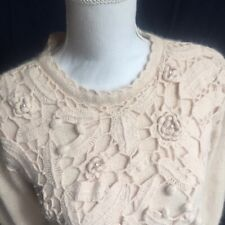 Jaclyn Smith Womens Small Cropped Sweater Soft Off White Silk Angora Blend D3