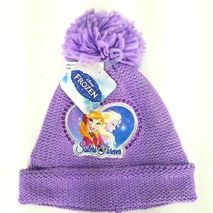 Disney Frozen Sisters Forever Fleece Lined Beanie Stocking Cap w/ Pom Purple NWT