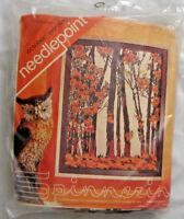 "OCTOBER MORNING Spinnerin Needlepoint Kit NIP 14""x18"" Wool yarn 12 mesh canvas"