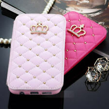 For iPhone 12 XS Max XR 7 8 Girls Diamond Bling Crown Wallet Flip Leather Case