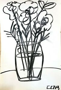 Charcoal Original Still Life NEW Drawing Paper Art Expressionism Collectible