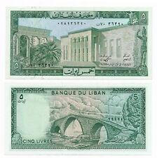 Lebanon Liban 5 Livres Liras  1986 P 62 / 62d UNC Note