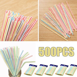 500pcs Plastic Drinking Straws Flexible Disposable Coloured for Birthday Party