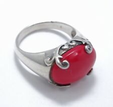 ELABORATED Signed SX THAILAND RED SPONGE CORAL STERLING RING