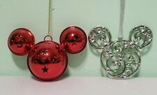 Disney Metal Red Icon Bell Silver Icon Metal Christmas Ornaments Set Of 2