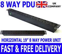 """19"""" 8 Way Power Distribution Unit Strip Horizontal UK PDU Data Lan Cabinet Mount"""