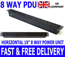 "19"" 8 Way Power Distribution Unit Strip Horizontal UK PDU Data Lan Cabinet Mount"