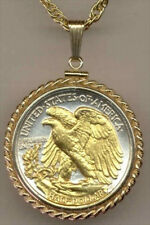 Silver & Gold Coin Necklace W/ Rope Bezel US Walking Liberty half Tail Side, #30