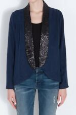NWT $249 Beyond Vintage Navy Blazer With Sequin Collar Size XS