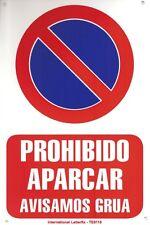 PROHIBIDO APARCAR AVISAMOS GRUA CARTEL LETRERO 20 X 30 CMS. PLACA PLASTICA SEÑAL