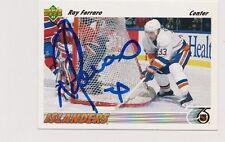 91/92 Upper Deck Ray Ferraro New York Islanders Autographed Hockey Card
