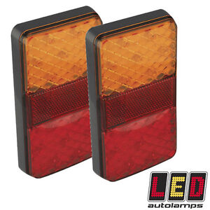 Pair of Rectangle Fully Submersible Boat Trailer 12v LED Lights *LIFE WARRANTY*
