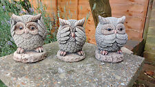 3 Wise Owls Garden Ornaments - Hand Cast
