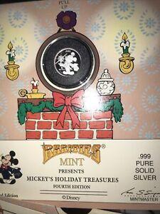 1989-90 DISNEY RARITIES MINT 999 SILVER COIN MICKEYS HOLIDAY TREASURES 4TH ED
