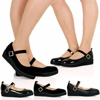 NEW WOMENS FLAT CASUAL MARY JANE SMART WORK PUMP LADIES COURT SHOES SIZE 3-8