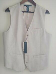 Perry Ellis Mens Vest Slim Fit Stretch Dressy Essentials Natural Linen Sz M L