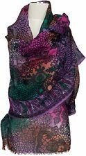 Leichter Print Schal Wolle, scarf stole écharpe wool Lila Grün Purple Green Pink
