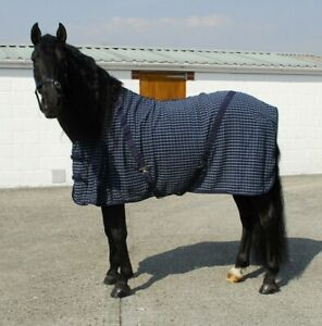 Rhinegold Box Weave Cooler Travel Rug - Moisture Wicking - Navy/Turquoise