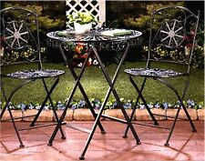 "Set of 3 ** ""FLEUR DE LIS"" IRON BISTRO STYLE PATIO TABLE W/ TWO (2) CHAIRS * NIB"