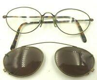Vintage Adrienne Vittadini Sport TO/AG Gold Tortoise Oval Clip-On Sunglasses