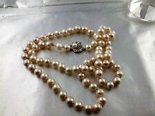 B17 Vintage Perlenkette Echte Perlen 8 mm 585 Weisgold Verschluss 64 cm lang