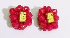 boucles d'oreilles à clips rétro perles rouges pavé doré * 3242