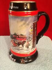 """Budweiser Holiday Stein: 1992 2nd in Series of 3 """"A Perfect Christmas"""""""