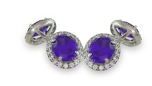 925 Sterling Silver Purple Oval Tiny Round Halo Cufflinks Solid CZ Men's Jewelry