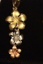 14k Solid Italian Gold Yellow, Rose &White Tricolor Camelia Pendant