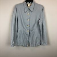 Max Studio 100% Linen Pale Blue Long Sleeve Peplum Top Blouse Jacket Sz Womens L