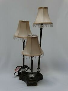 "3 Candelabra Lamp for Desk or Table w/ Shades 23"" h x 5"" l x 3"" w x 2"" h Base"