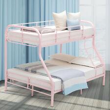 Metal Bunk Beds Twin over Full Ladder Kid Teen Dorm Loft Bedroom Furniture Pink