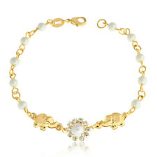 "14k Gold Filled Charm Bracelet Women Pearl Rhinestones Elephant 7.5"" Pulsera Oro"