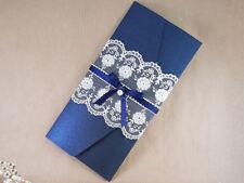 navy/midnight blue handmade pocket wedding invitation. rsvp & lace trim (celia)