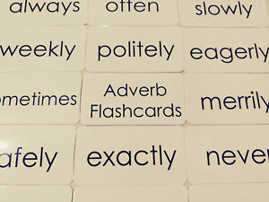 Adverb Words Flashcards.  23 Laminated Black and White Preschool Parts of Speech