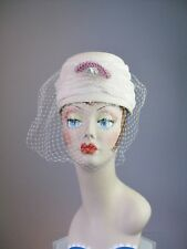 Vintage Ladies hat 1950s Fabric Turban Ivory with Pink Jeweled Ornament and veil