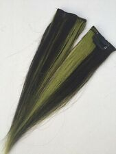 """9"""" Clip in Human Hair Extensions streaks #1 & Green Mix 2 Pcs"""