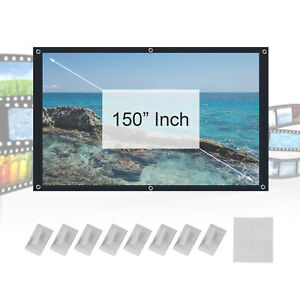 """150"""" 3D HD 16:9 Portable Projector Screen in Home Outdoor Camping Cinema Theater"""