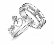 Prince Princess Queen Silver Couple Rings Wedding Band His and Her Promise Ring