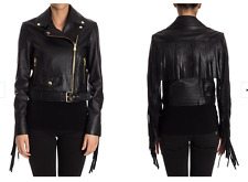Moschino Boutique Black Gold Tassel Leather Biker Jacket Coat Womens IT38 UK 6-8